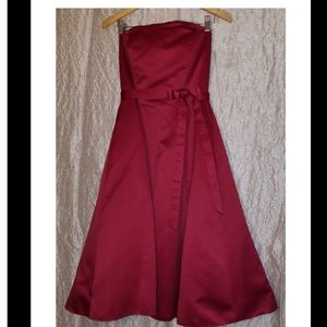 Burgundy Strapless Formal Gown, size 12